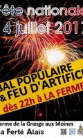 Fête Nationale à La Ferté Alais :  bal populaire et feu d'artifice