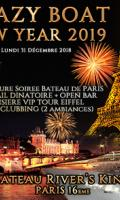 CRAZY BOAT TOUR EIFFEL CROISIERE VIP NEW YEAR 2019 (OPEN BAR / 2 AMBIANCES)
